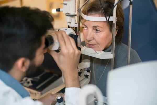 Lady getting eye test