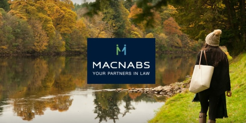 Mcnabs Solicitors Logo over Scottish Riverbank scene